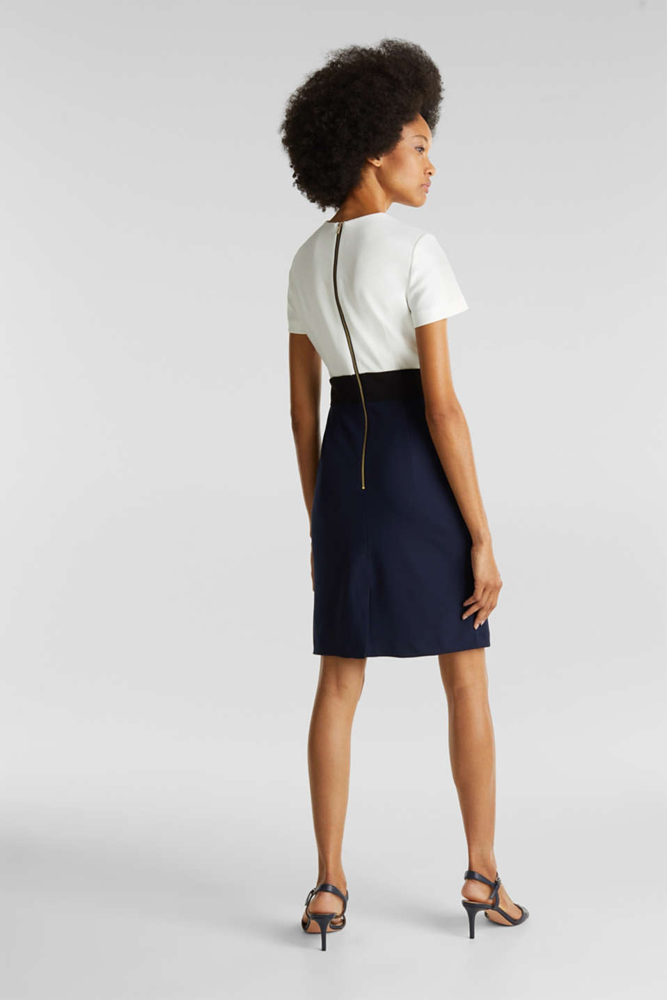 Sheath dress in a colour block look, NAVY, detail image number 3