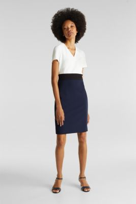 Sheath dress in a colour block look, NAVY, detail
