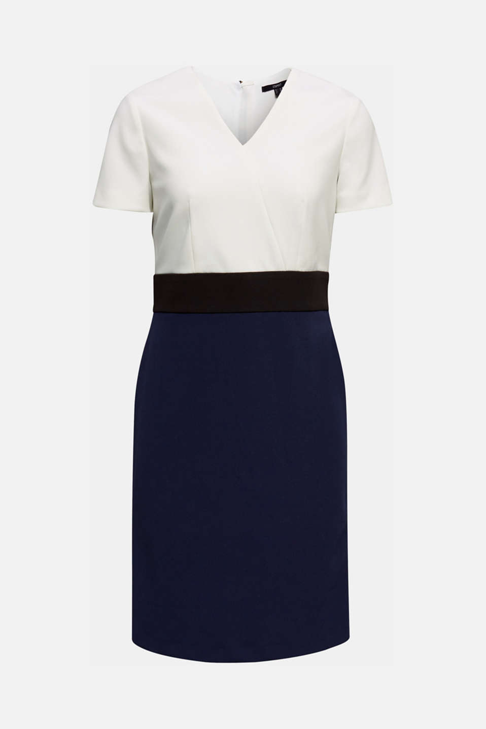 Sheath dress in a colour block look, NAVY, detail image number 6