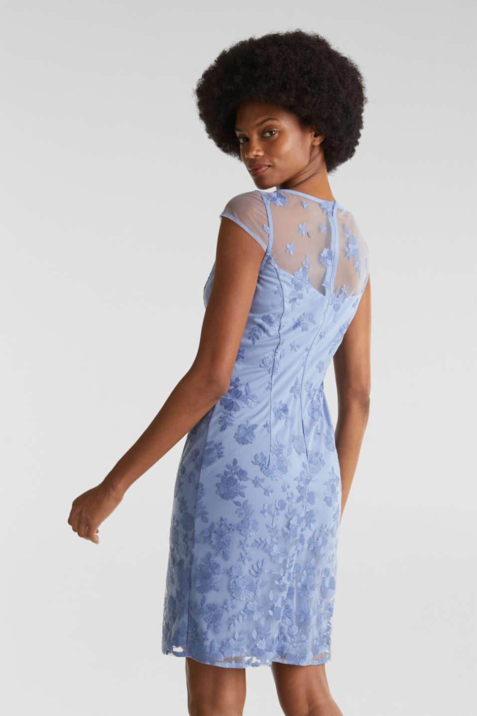 Embroidered tulle dress, BLUE LAVENDER, detail image number 2