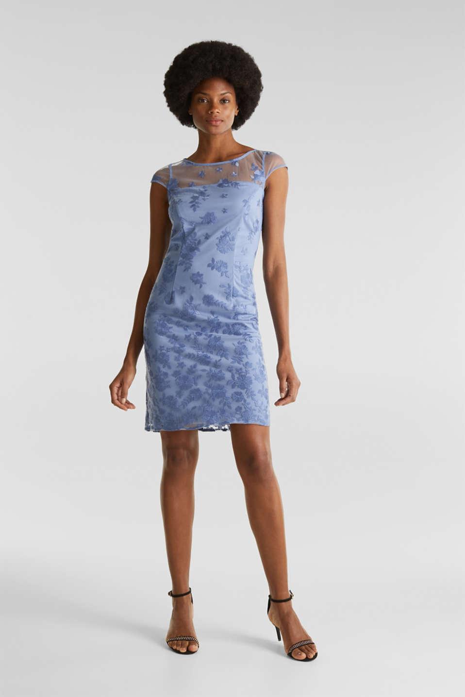 Embroidered tulle dress, BLUE LAVENDER, detail image number 1