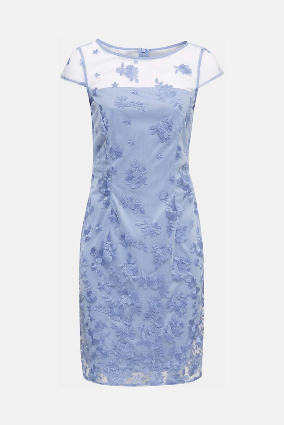 Embroidered tulle dress, BLUE LAVENDER, detail image number 4