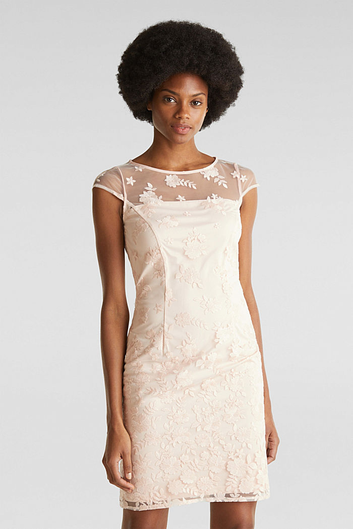 Embroidered tulle dress, PASTEL PINK, detail image number 0