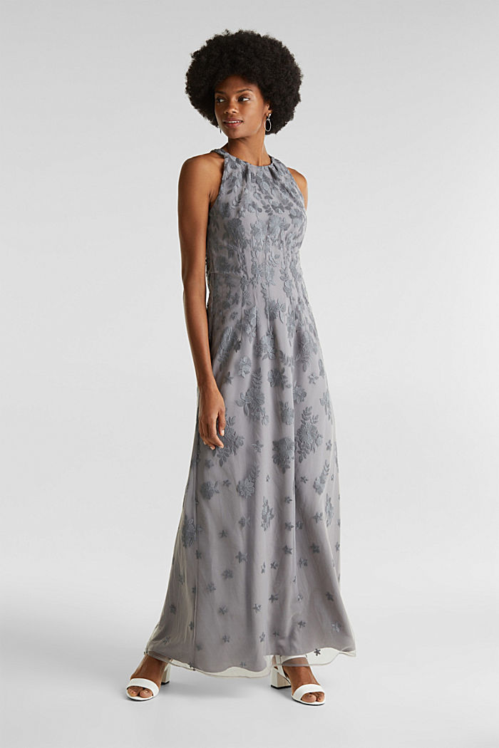 Abito maxi in tulle con ricamo, GREY, overview