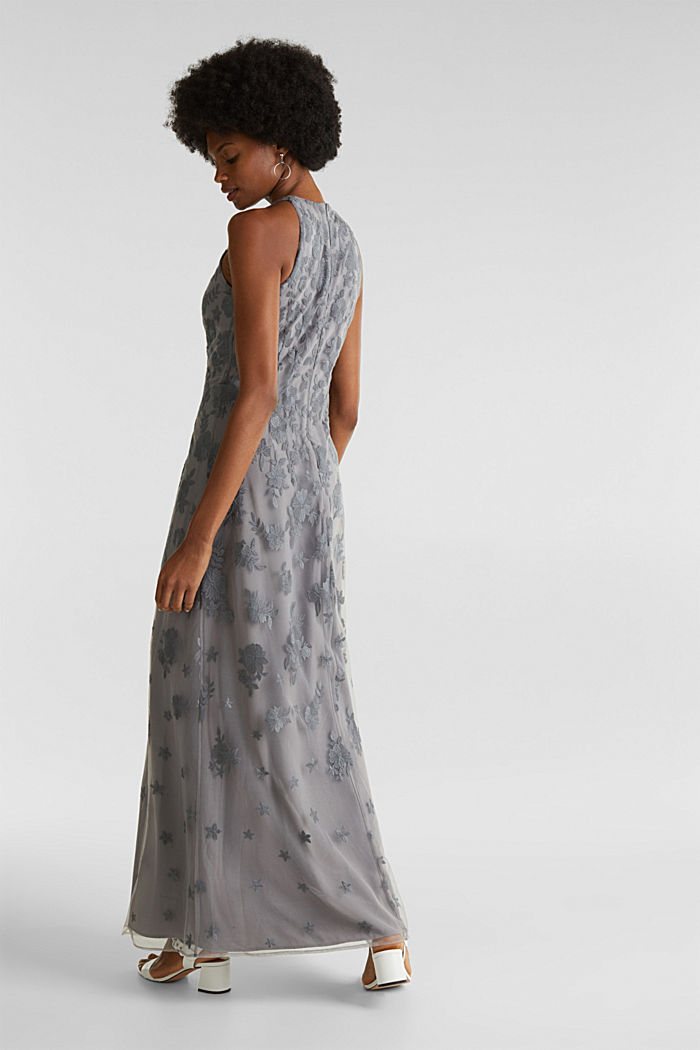 Maxi dress made of tulle with embroidery, GREY, detail image number 2