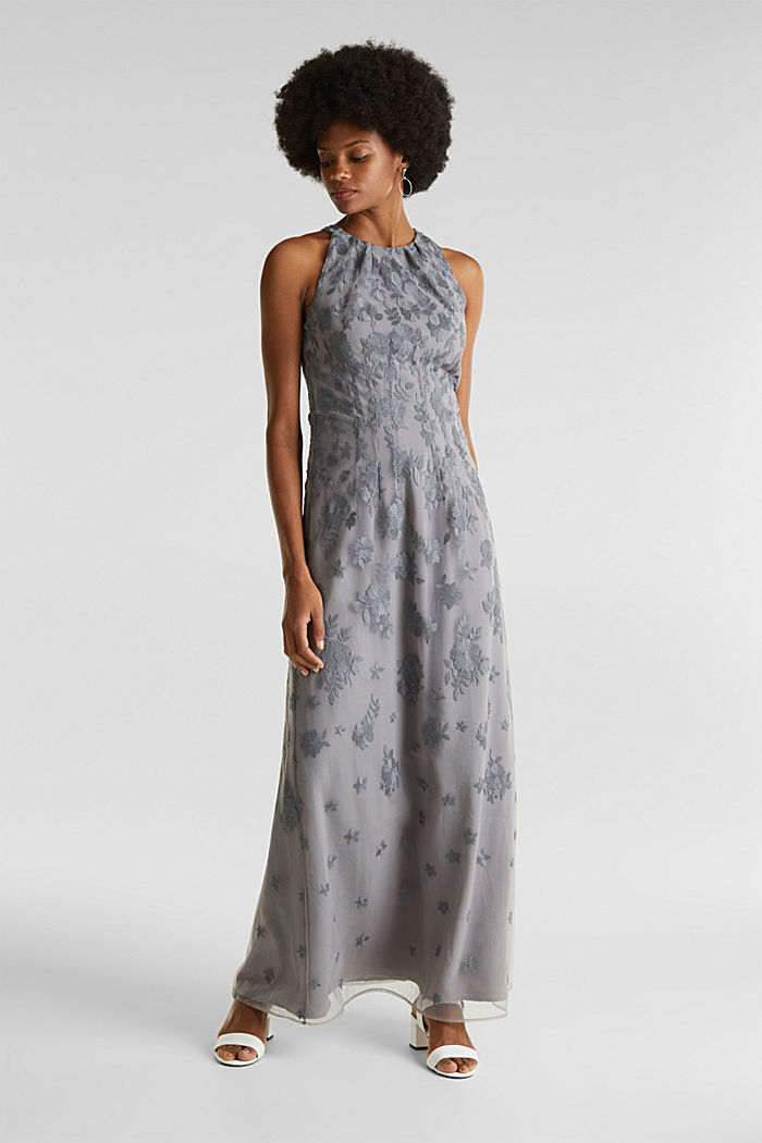 Maxi dress made of tulle with embroidery, GREY, detail image number 1
