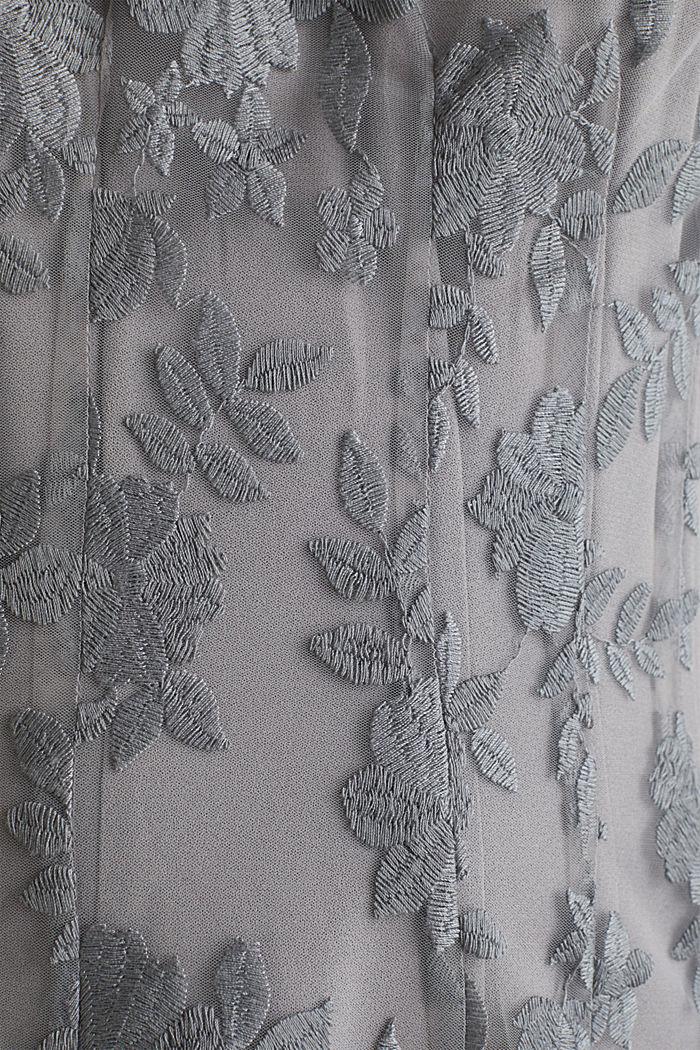 Maxi-jurk van tule met borduursel, GREY, detail image number 3