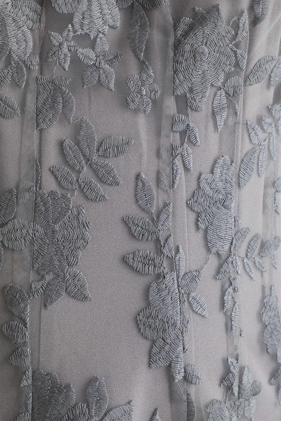 Maxi dress made of tulle with embroidery, GREY, detail image number 3