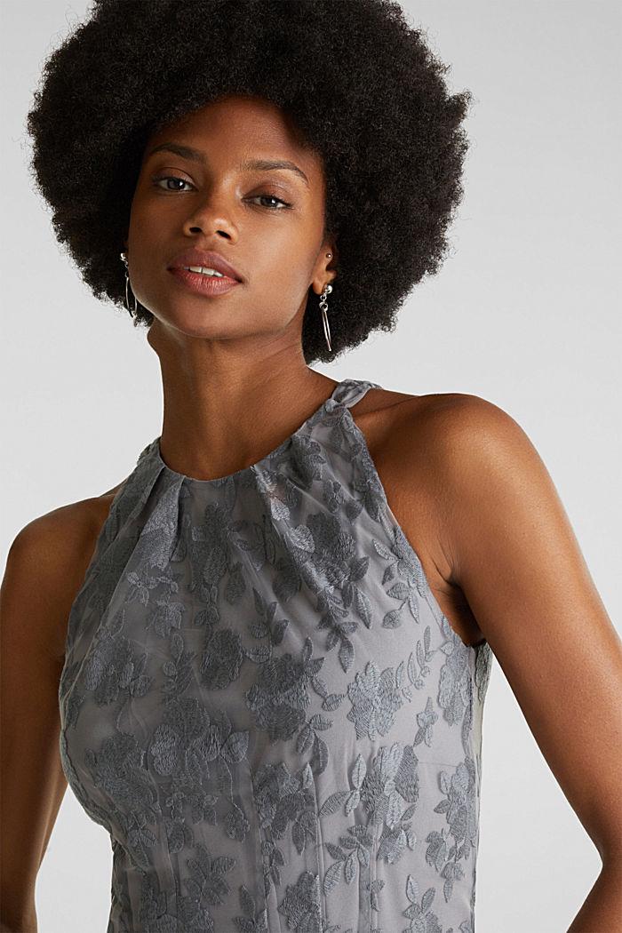 Maxi-Kleid aus Tüll mit Stickerei, GREY, detail image number 5