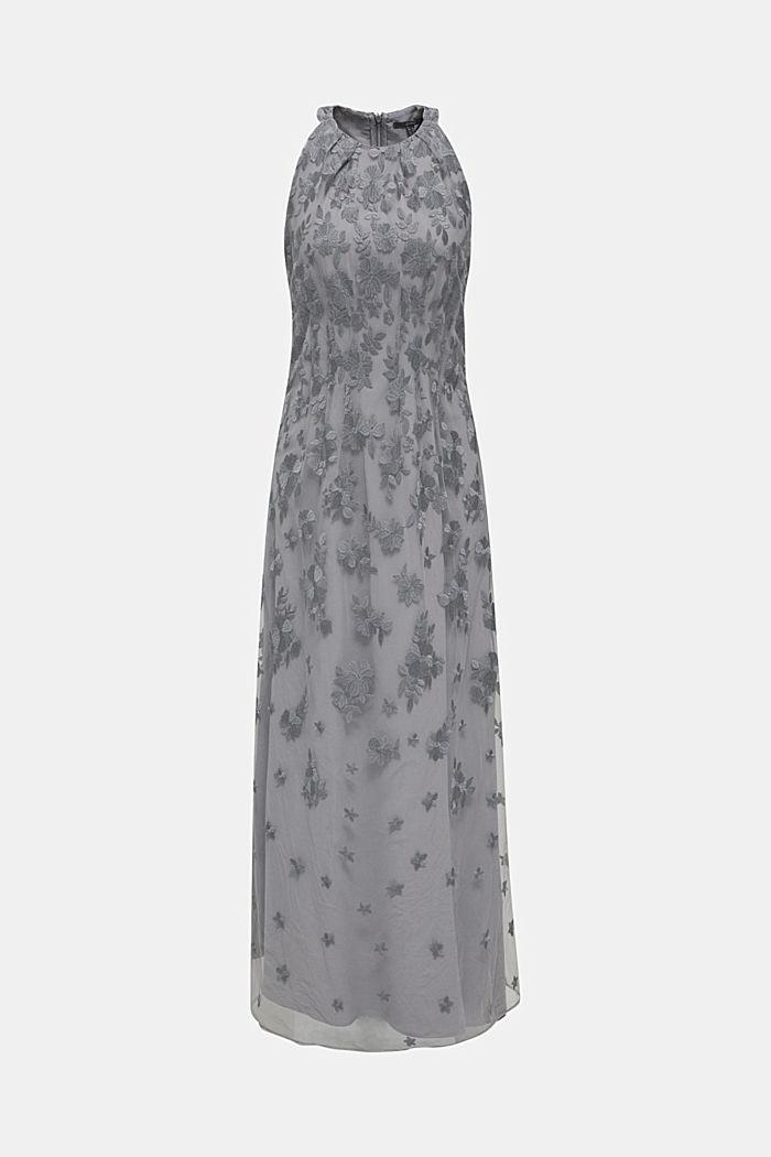 Maxi-Kleid aus Tüll mit Stickerei, GREY, detail image number 6