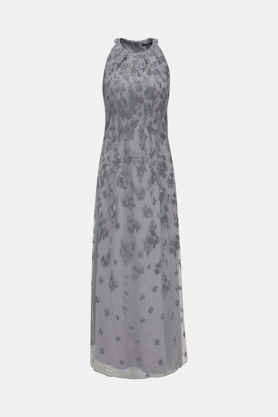 Maxi dress made of tulle with embroidery, GREY, detail image number 6