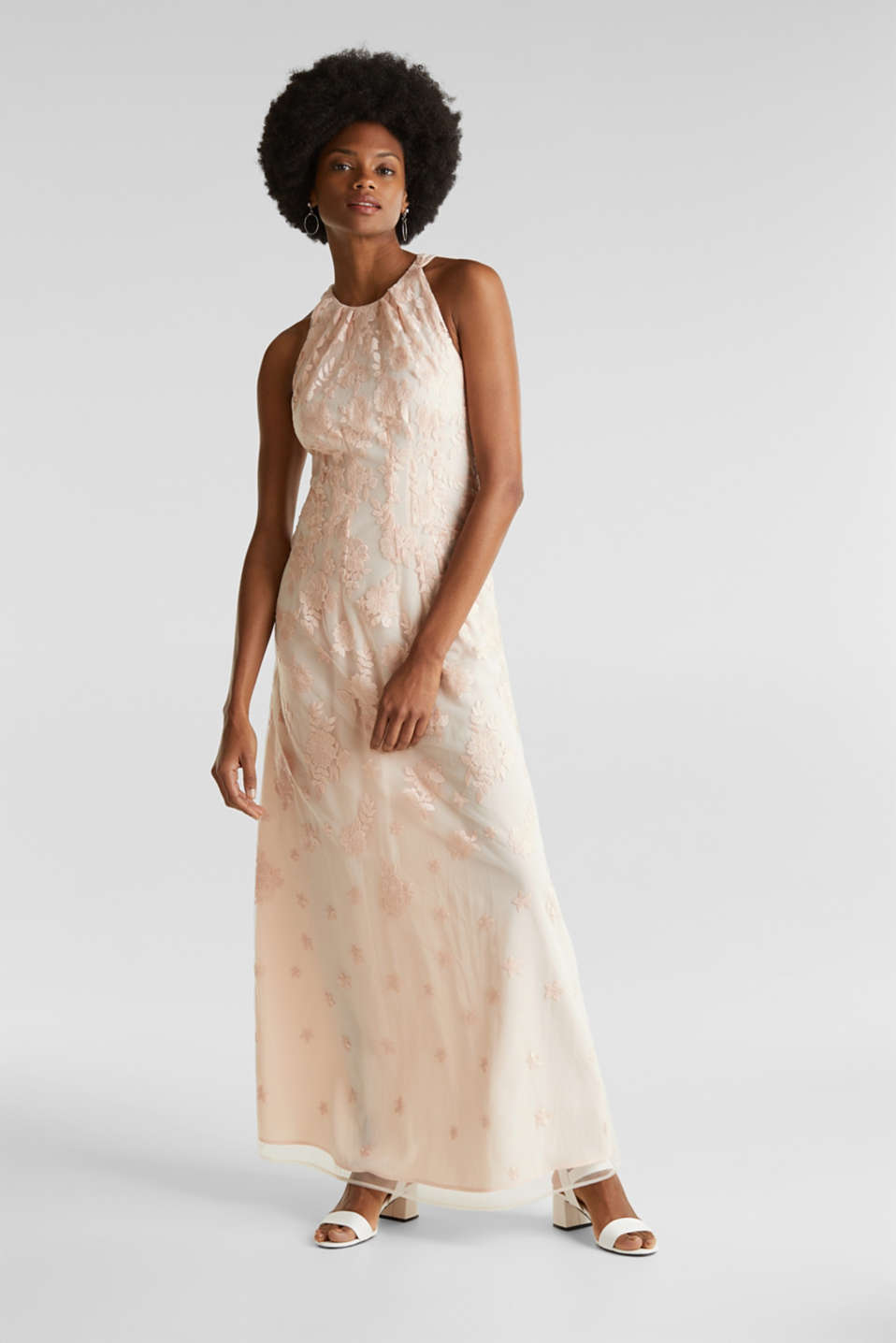 Maxi dress made of tulle with embroidery, PASTEL PINK, detail image number 1