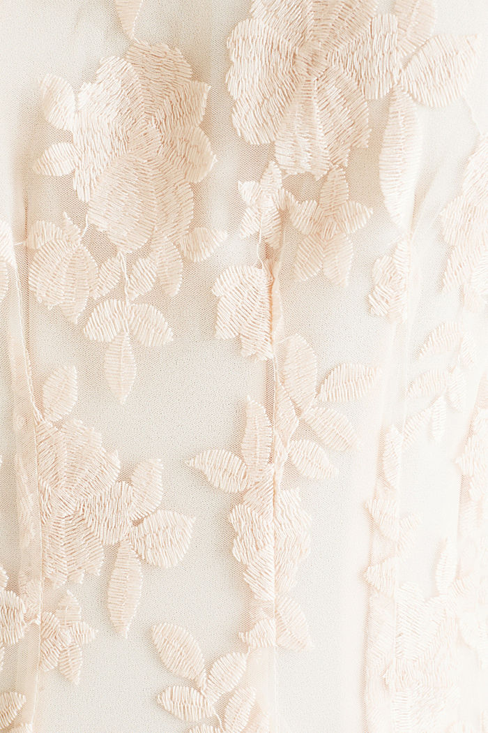 Maxi dress made of tulle with embroidery, PASTEL PINK, detail image number 4