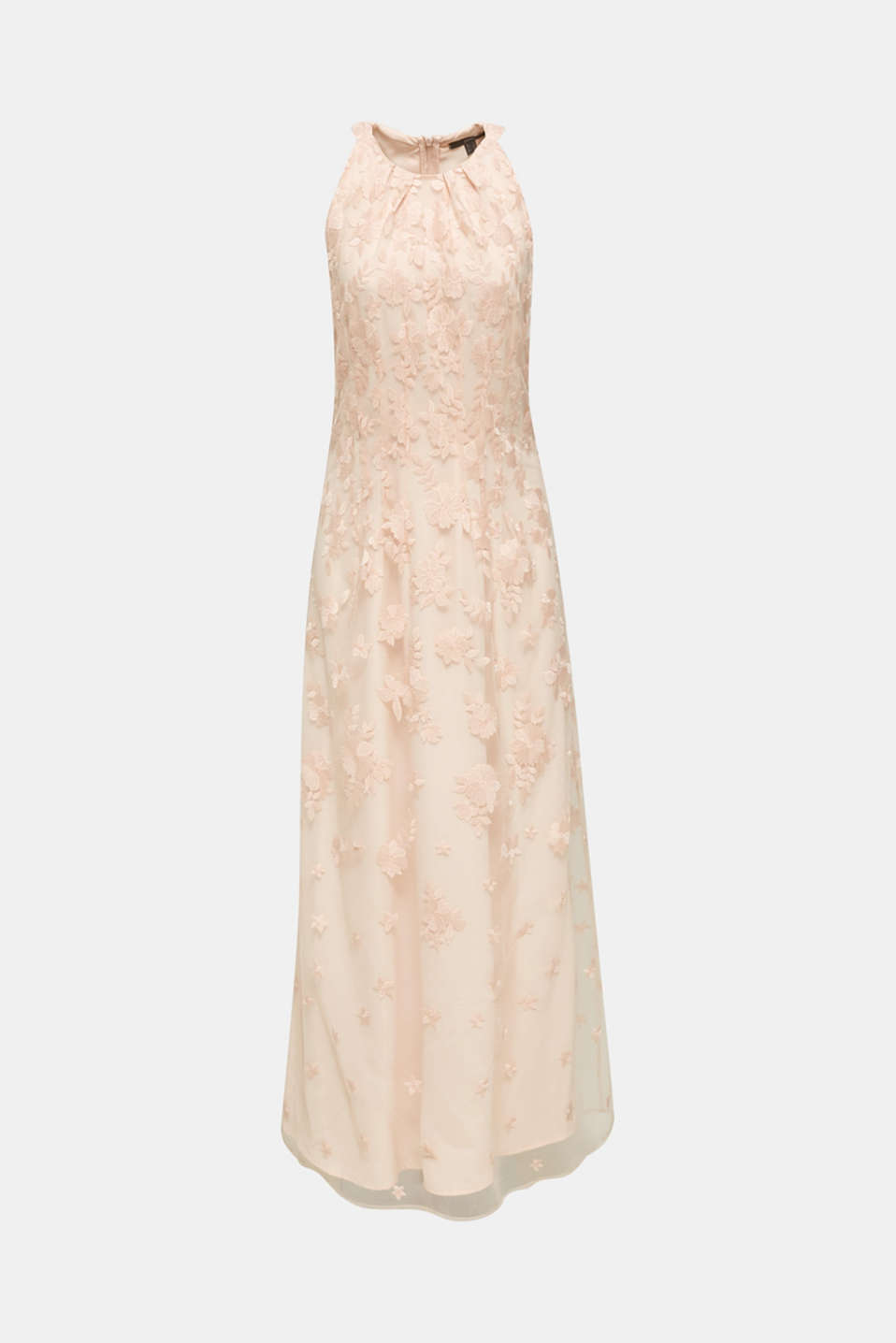 Maxi dress made of tulle with embroidery, PASTEL PINK, detail image number 6