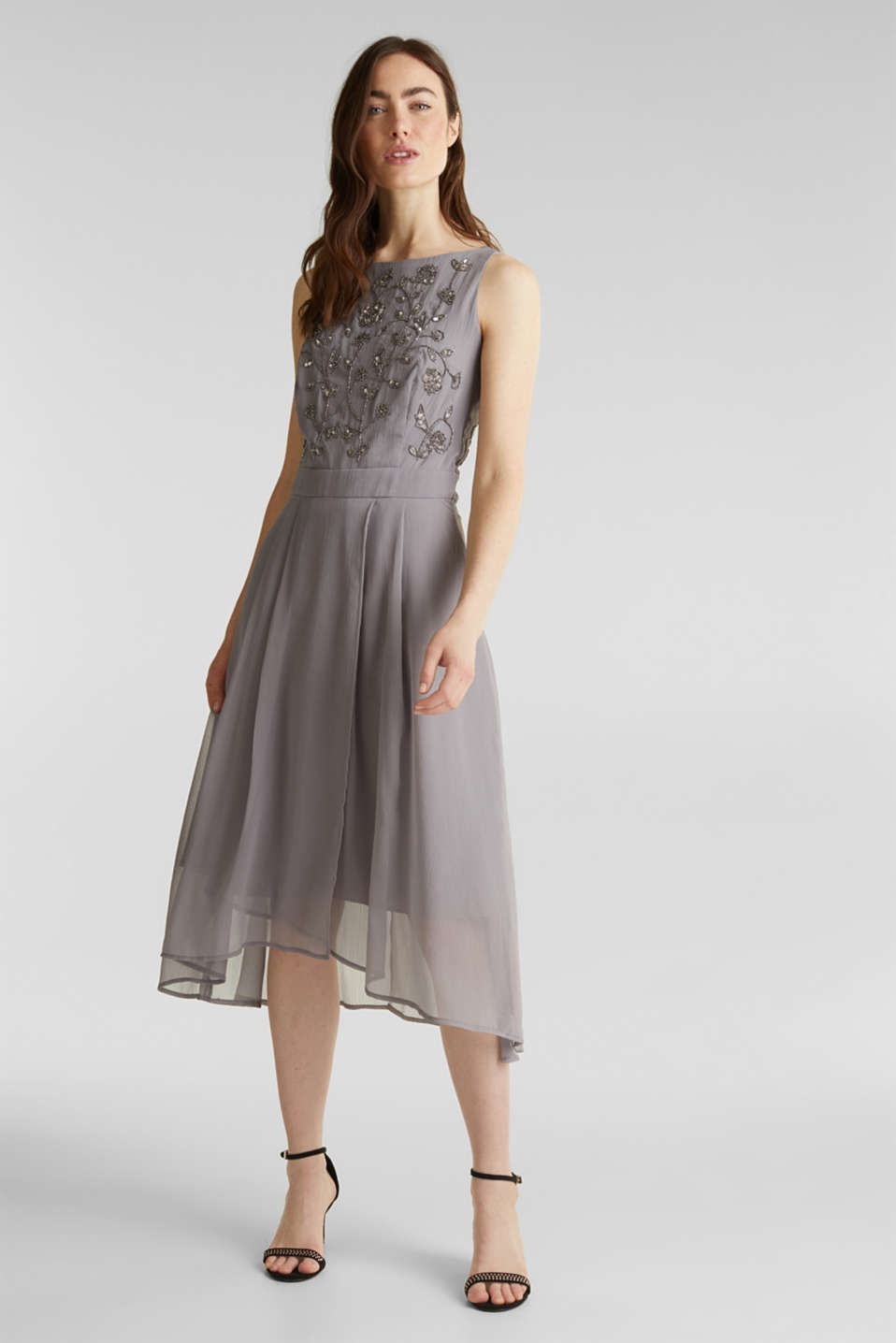 Crinkle chiffon dress with a beaded decoration, GREY, detail image number 1