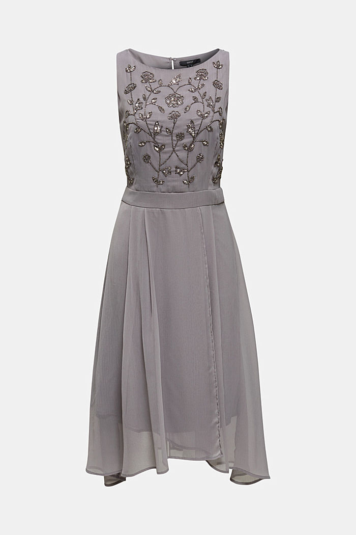 Crinkle chiffon dress with a beaded decoration, GREY, detail image number 5