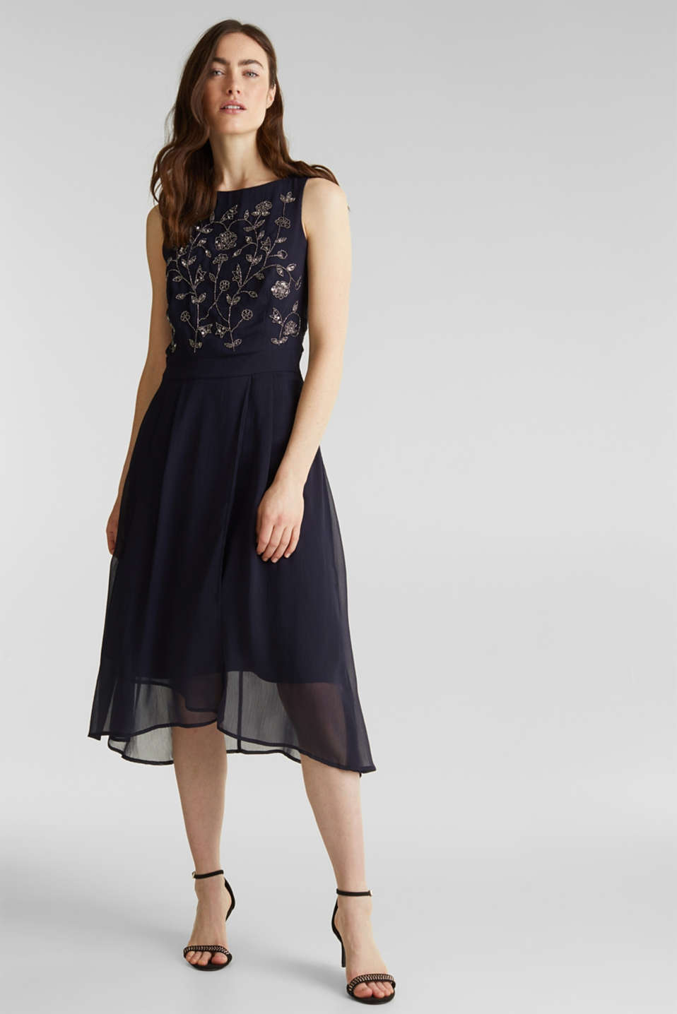 Crinkle chiffon dress with a beaded decoration, NAVY, detail image number 0
