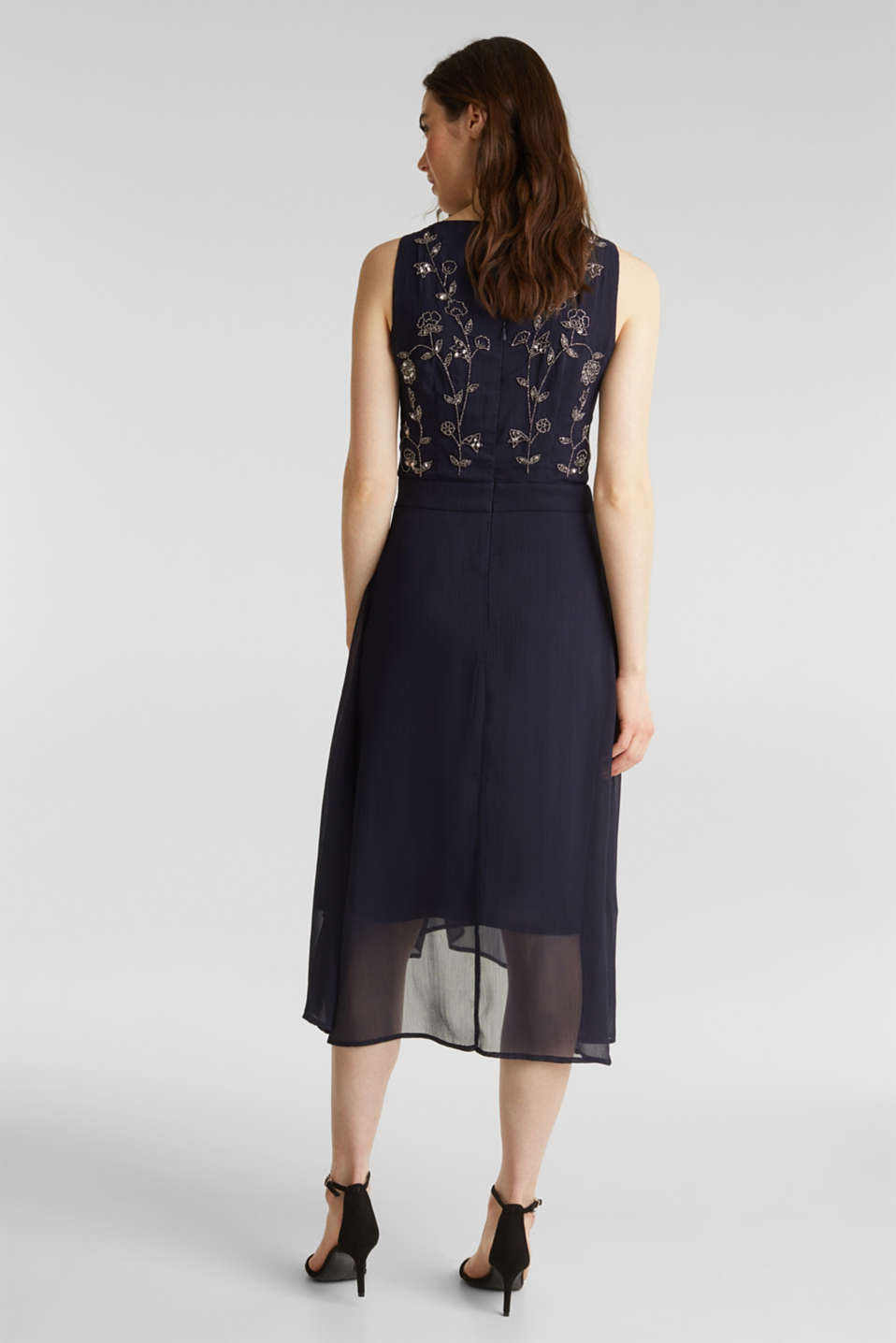 Crinkle chiffon dress with a beaded decoration, NAVY, detail image number 2