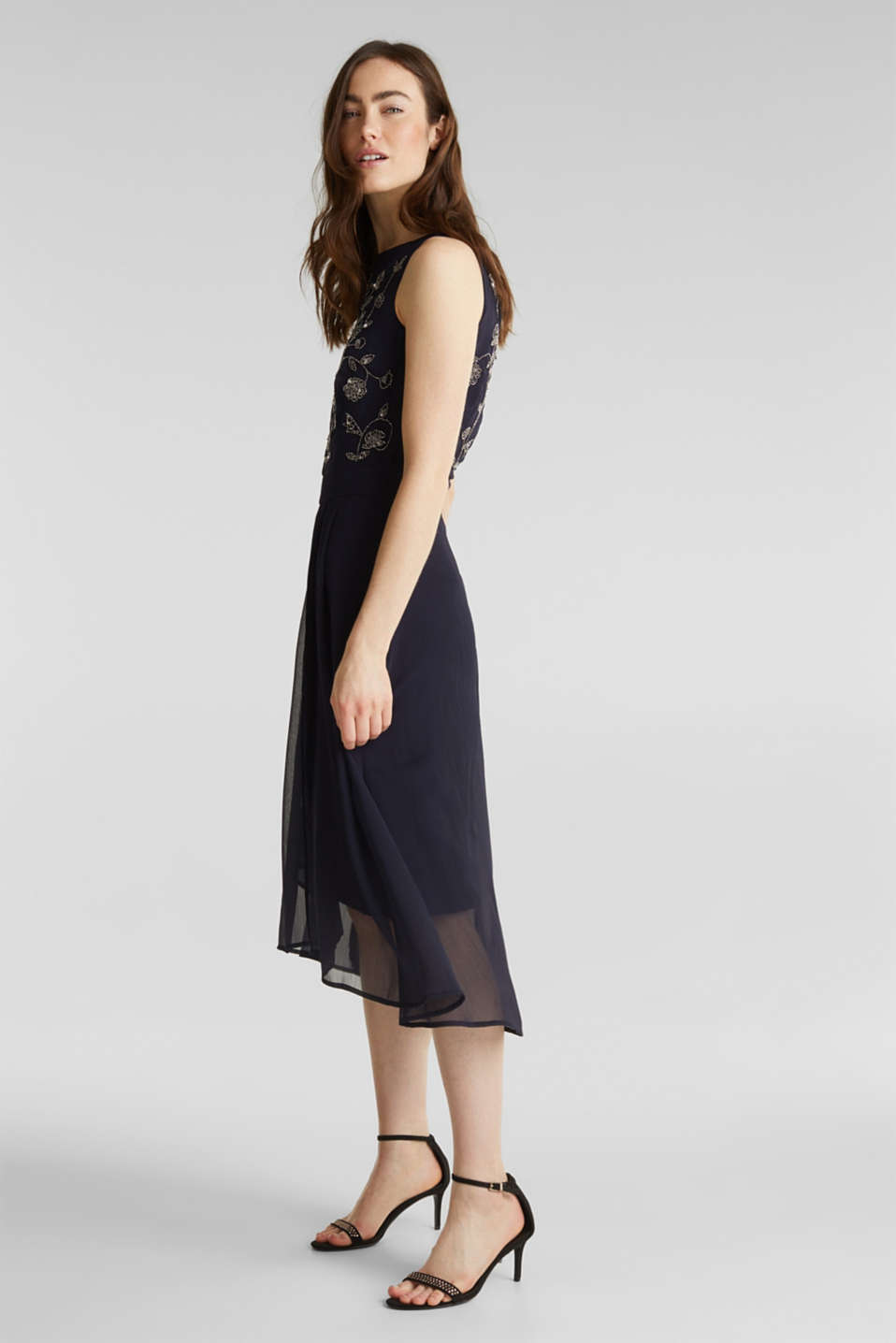 Crinkle chiffon dress with a beaded decoration, NAVY, detail image number 1