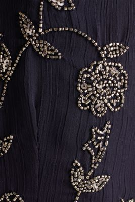 Crinkle chiffon dress with a beaded decoration, NAVY, detail