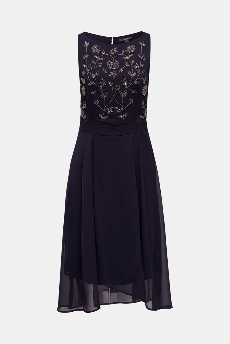 Crinkle chiffon dress with a beaded decoration, NAVY, detail image number 6
