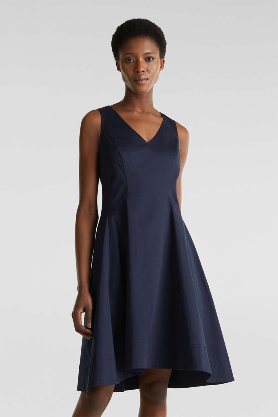 Esprit - Stretch satin dress with a high-low hem