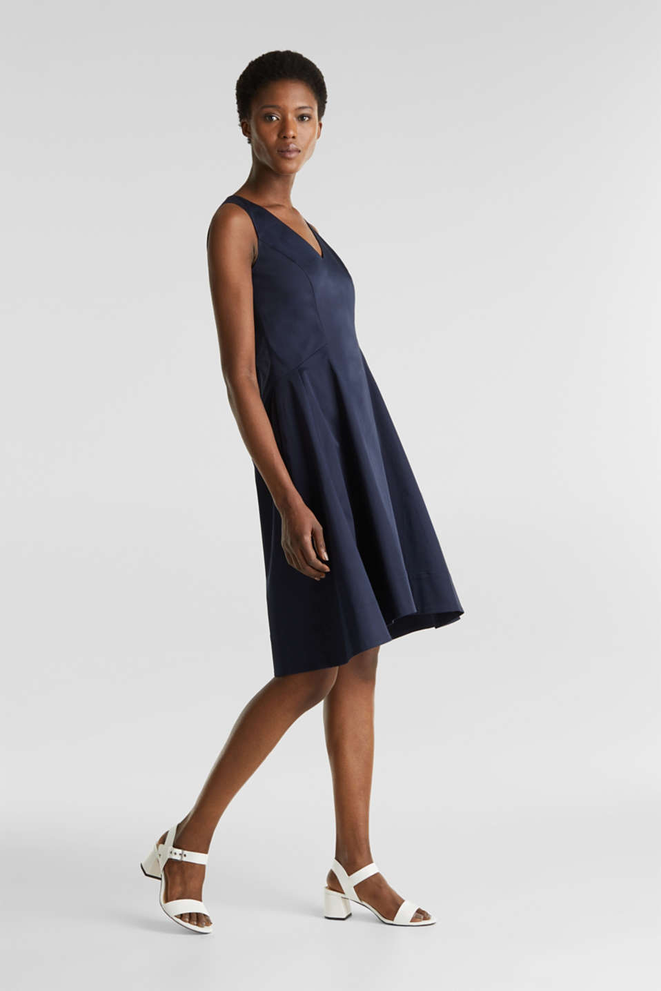 Stretch satin dress with a high-low hem, NAVY, detail image number 1