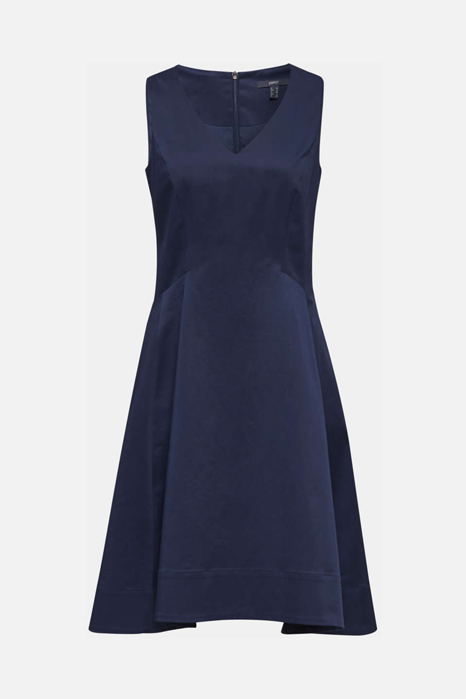 Stretch satin dress with a high-low hem, NAVY, detail image number 5