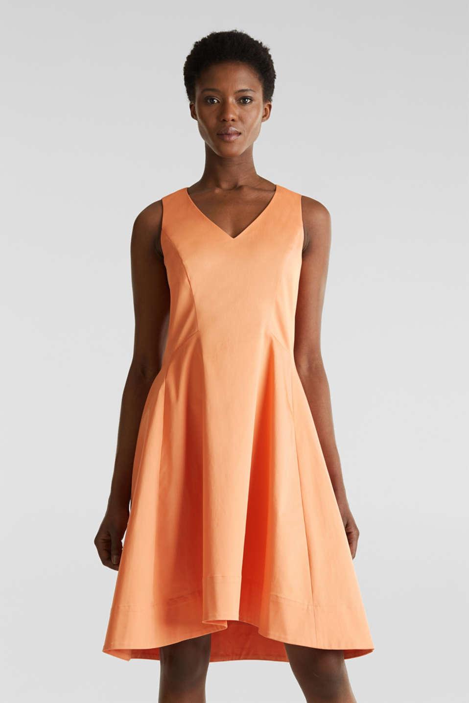 Stretch satin dress with a high-low hem, ORANGE, detail image number 0