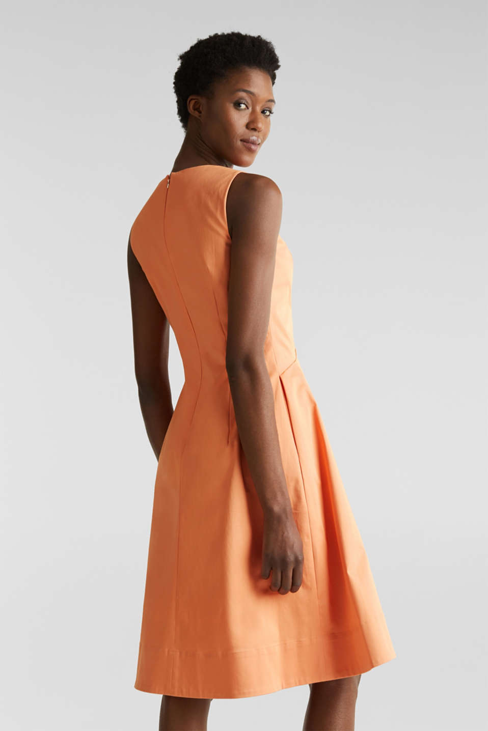Stretch satin dress with a high-low hem, ORANGE, detail image number 3