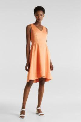 Stretch satin dress with a high-low hem, ORANGE, detail