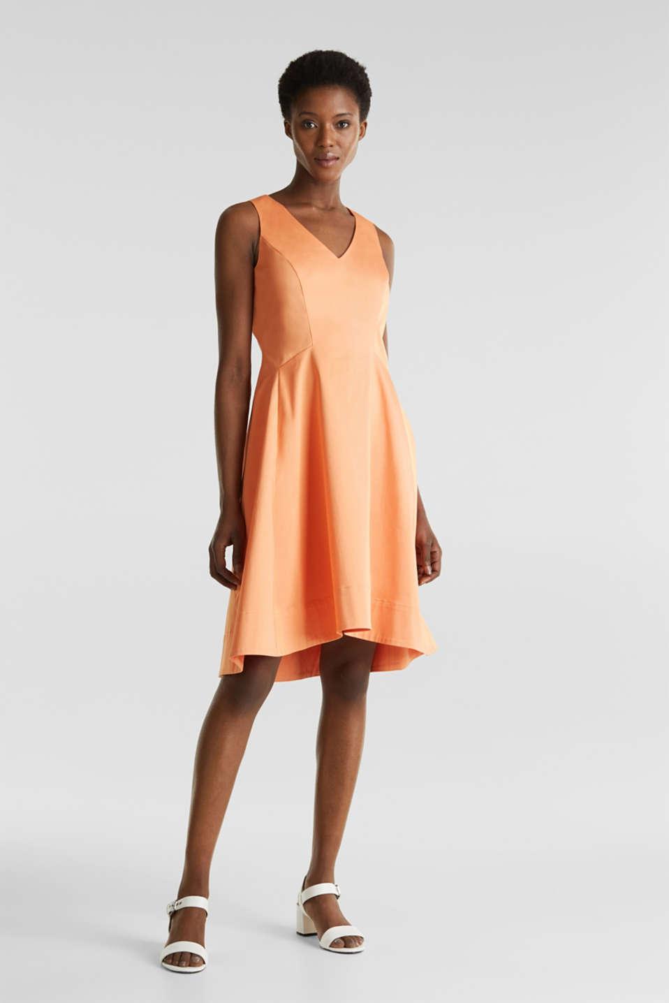 Stretch satin dress with a high-low hem, ORANGE, detail image number 1