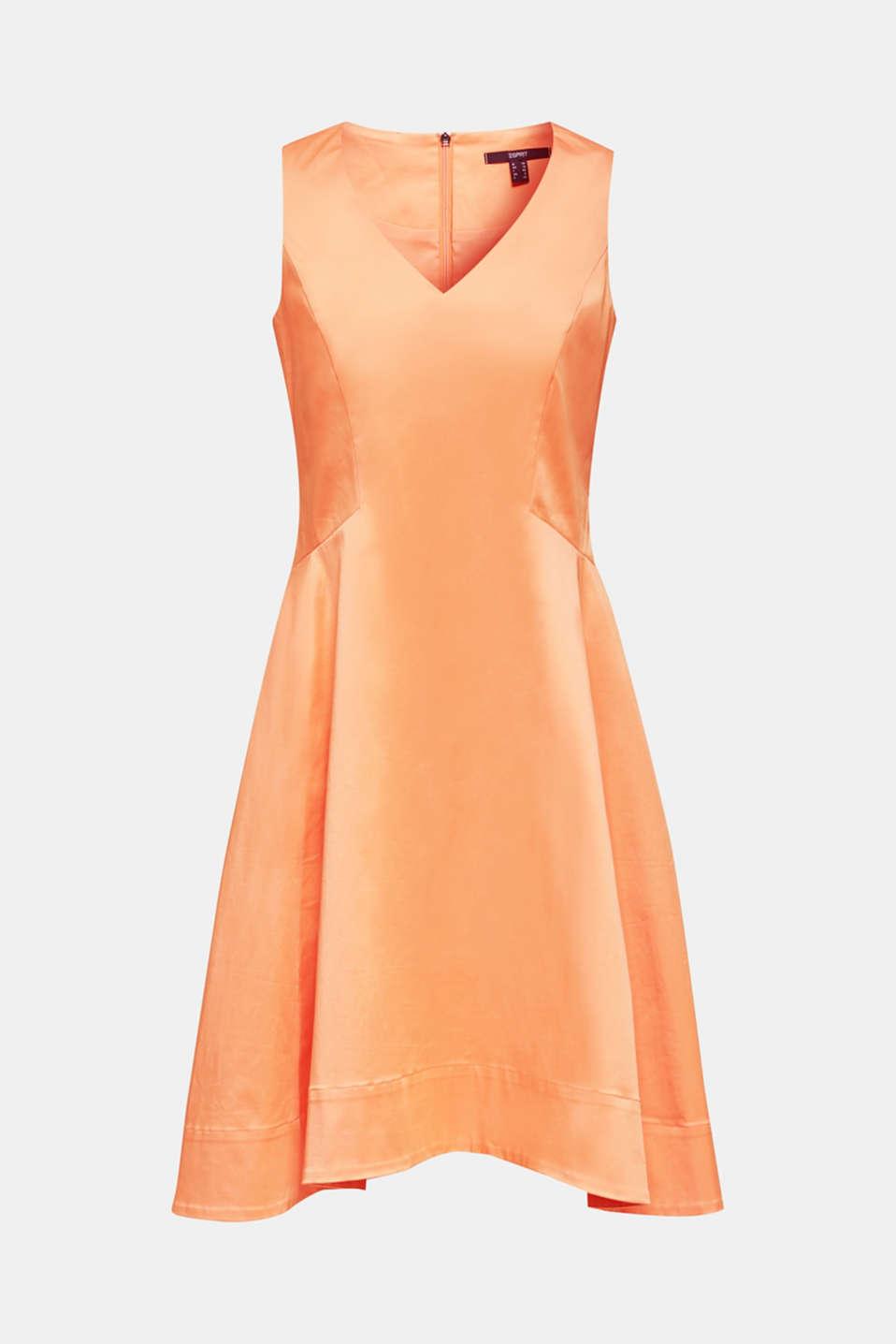 Stretch satin dress with a high-low hem, ORANGE, detail image number 6