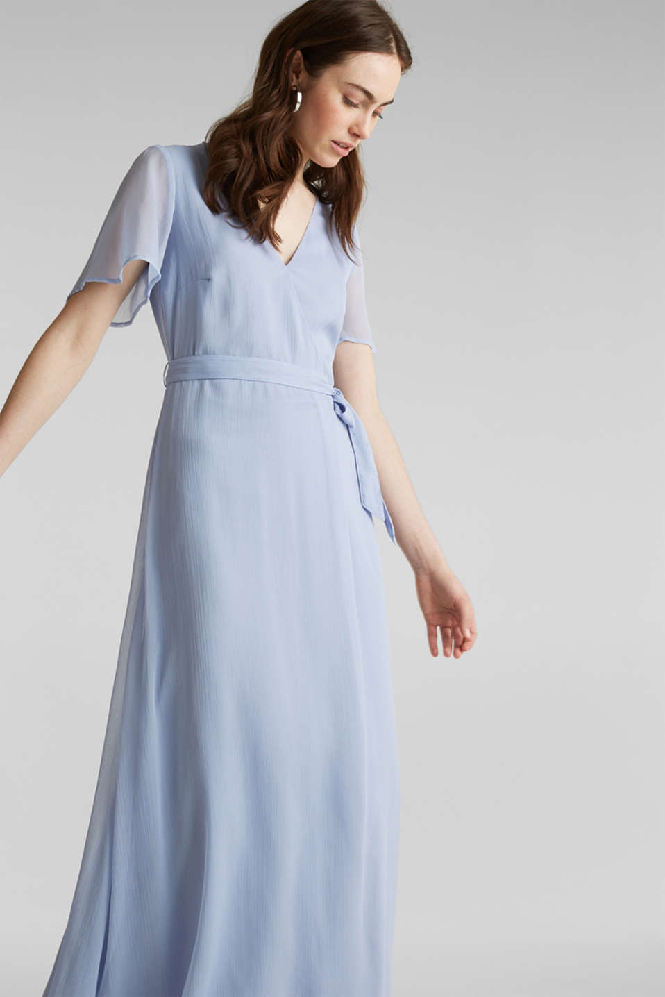 Maxi dress made of delicate crinkle chiffon, BLUE LAVENDER, detail image number 5