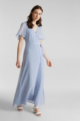 Maxi dress made of delicate crinkle chiffon, BLUE LAVENDER, detail