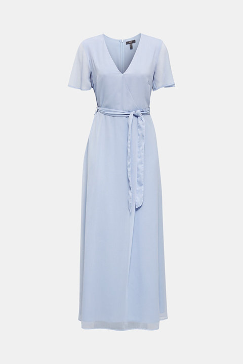 Maxi dress made of delicate crinkle chiffon