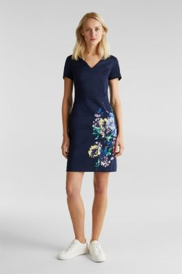 Stretch shift dress with a fine sheen, NAVY 4, detail
