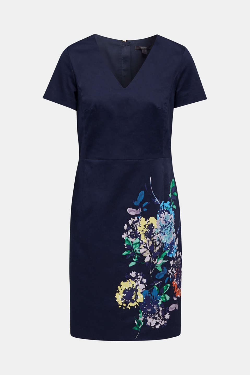 Stretch shift dress with a fine sheen, NAVY 4, detail image number 6