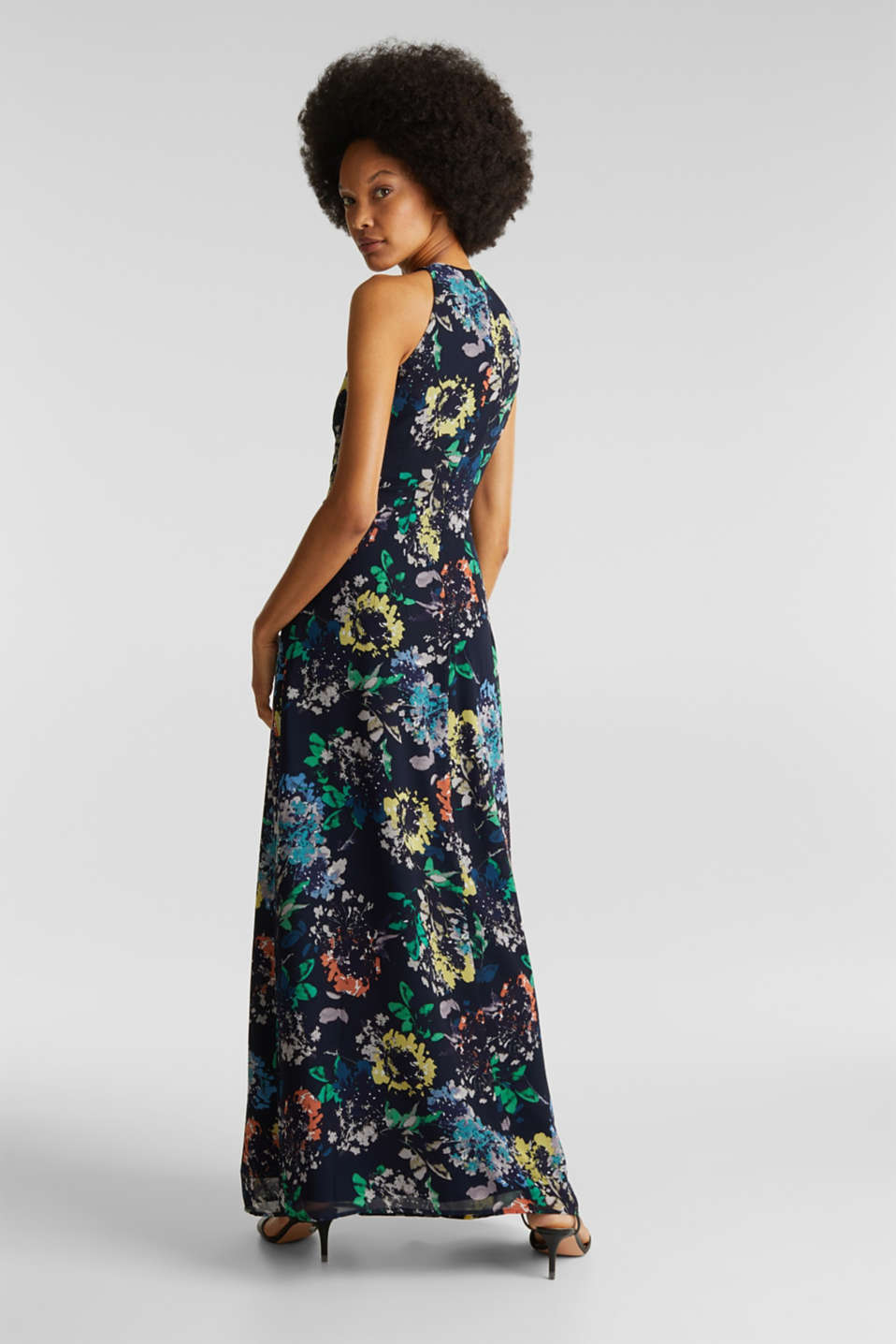 Chiffon dress with cut-away shoulders, NAVY 4, detail image number 2