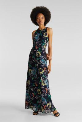 Chiffon dress with cut-away shoulders, NAVY 4, detail