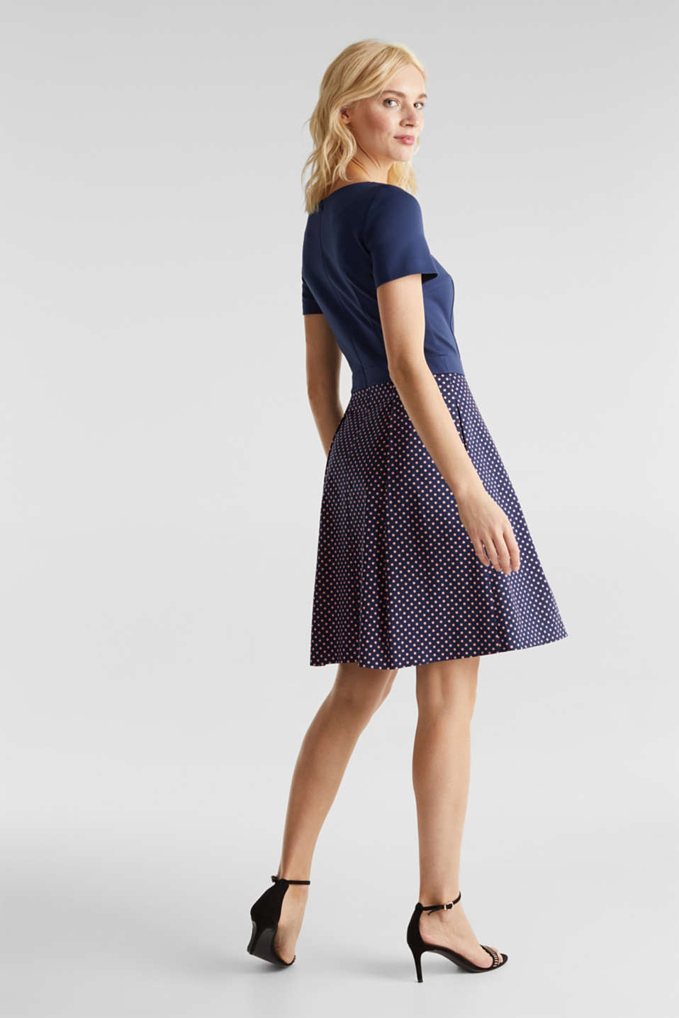 Fabric mix stretch dress, NAVY 4, detail image number 2