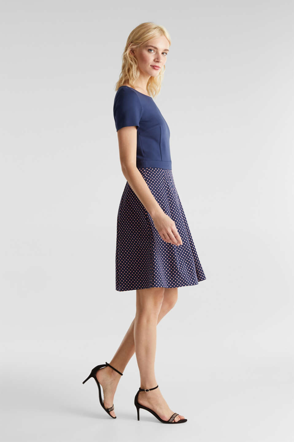 Fabric mix stretch dress, NAVY 4, detail image number 1