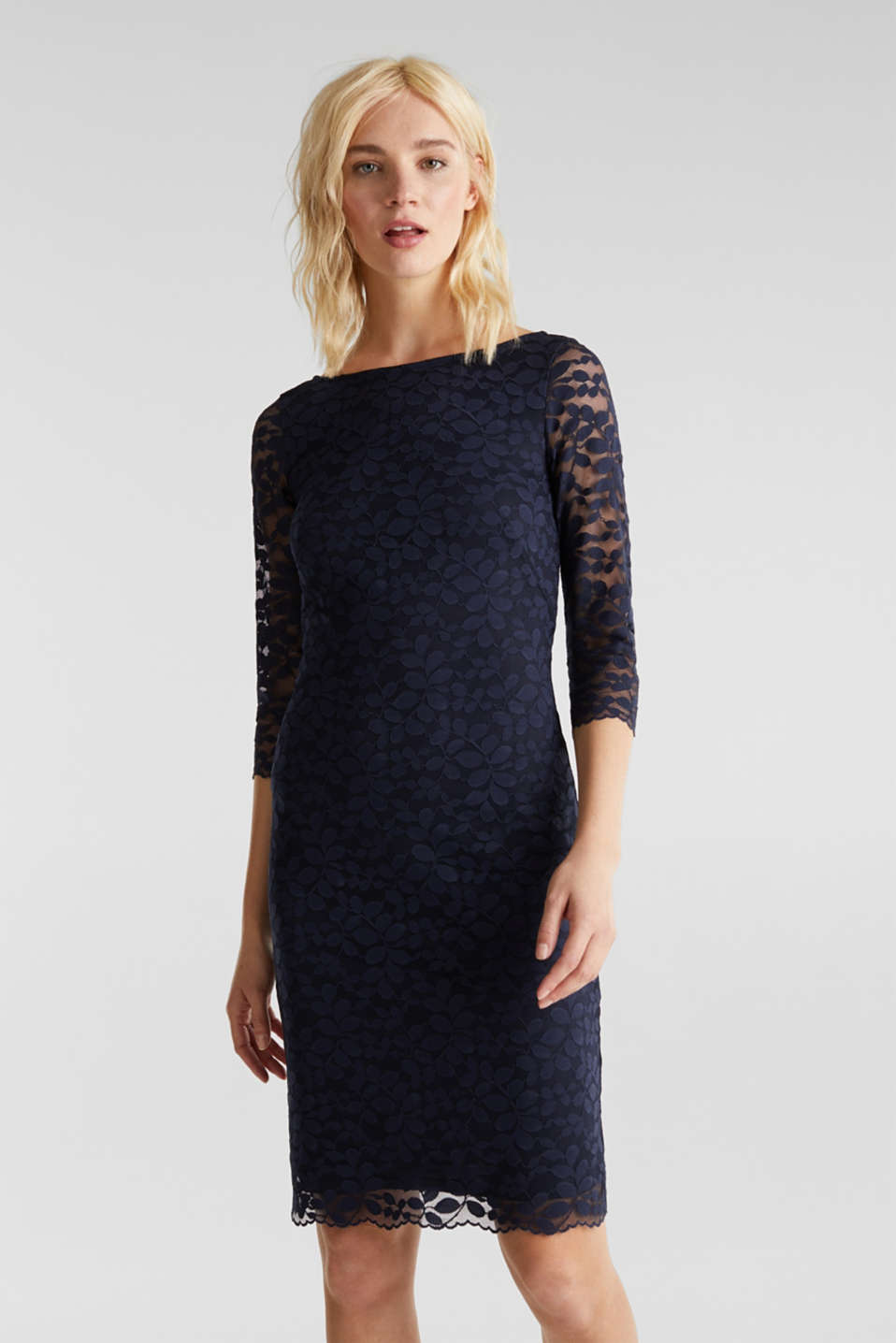 Esprit - Floral lace dress with stretch