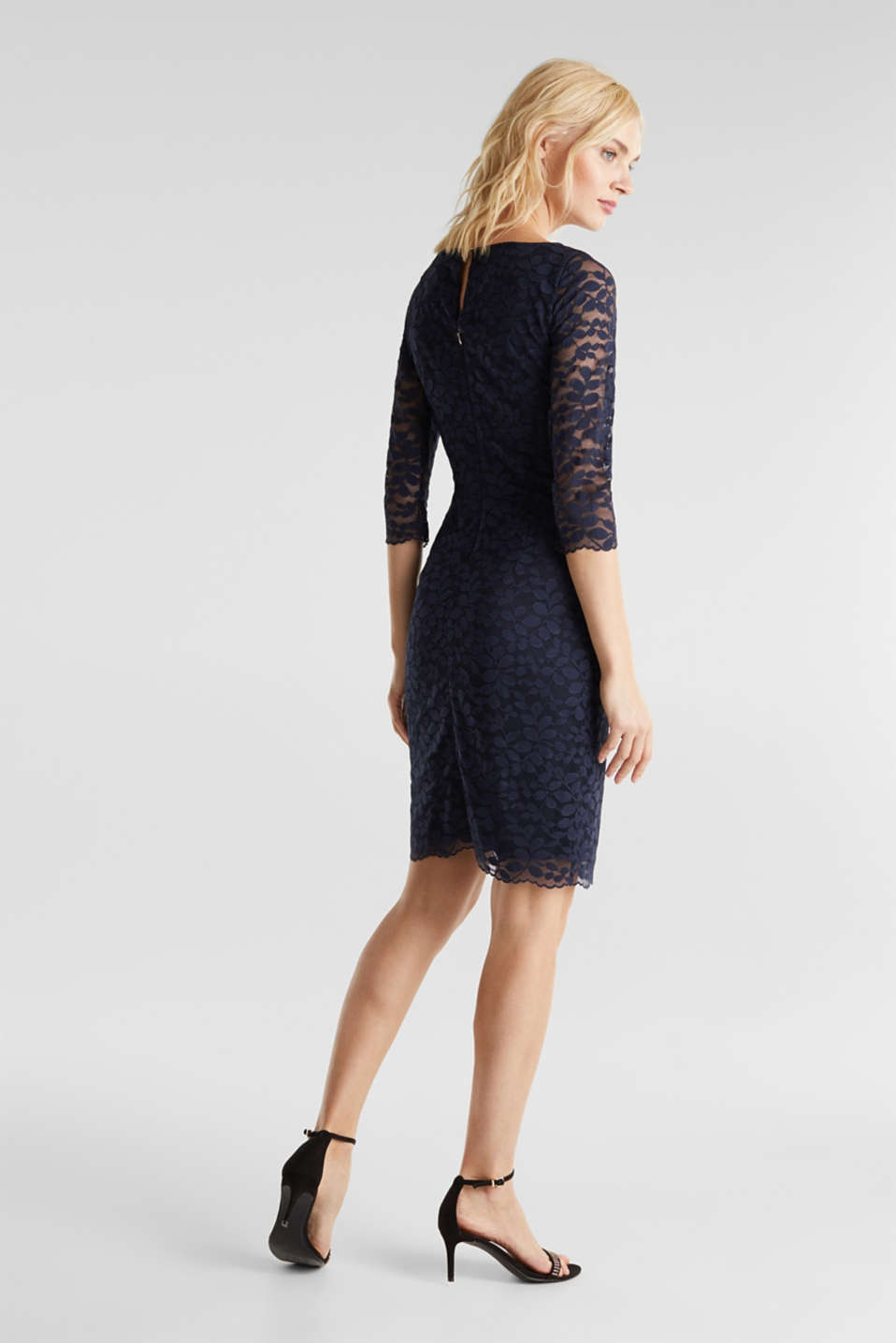 Floral lace dress with stretch, NAVY, detail image number 2