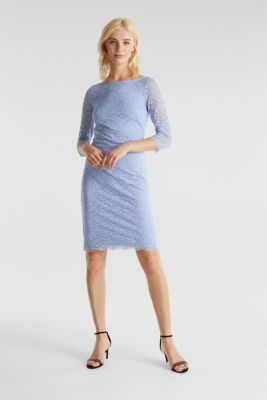 Floral lace dress with stretch, BLUE LAVENDER, detail