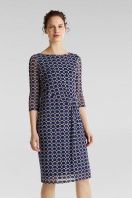 Mesh dress with a print, NAVY 3, detail