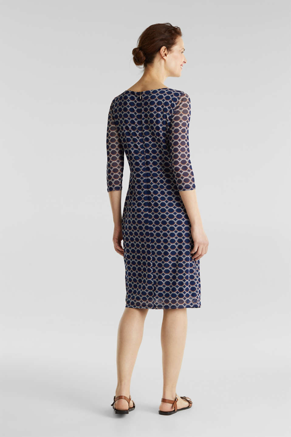 Mesh dress with a print, NAVY 3, detail image number 1