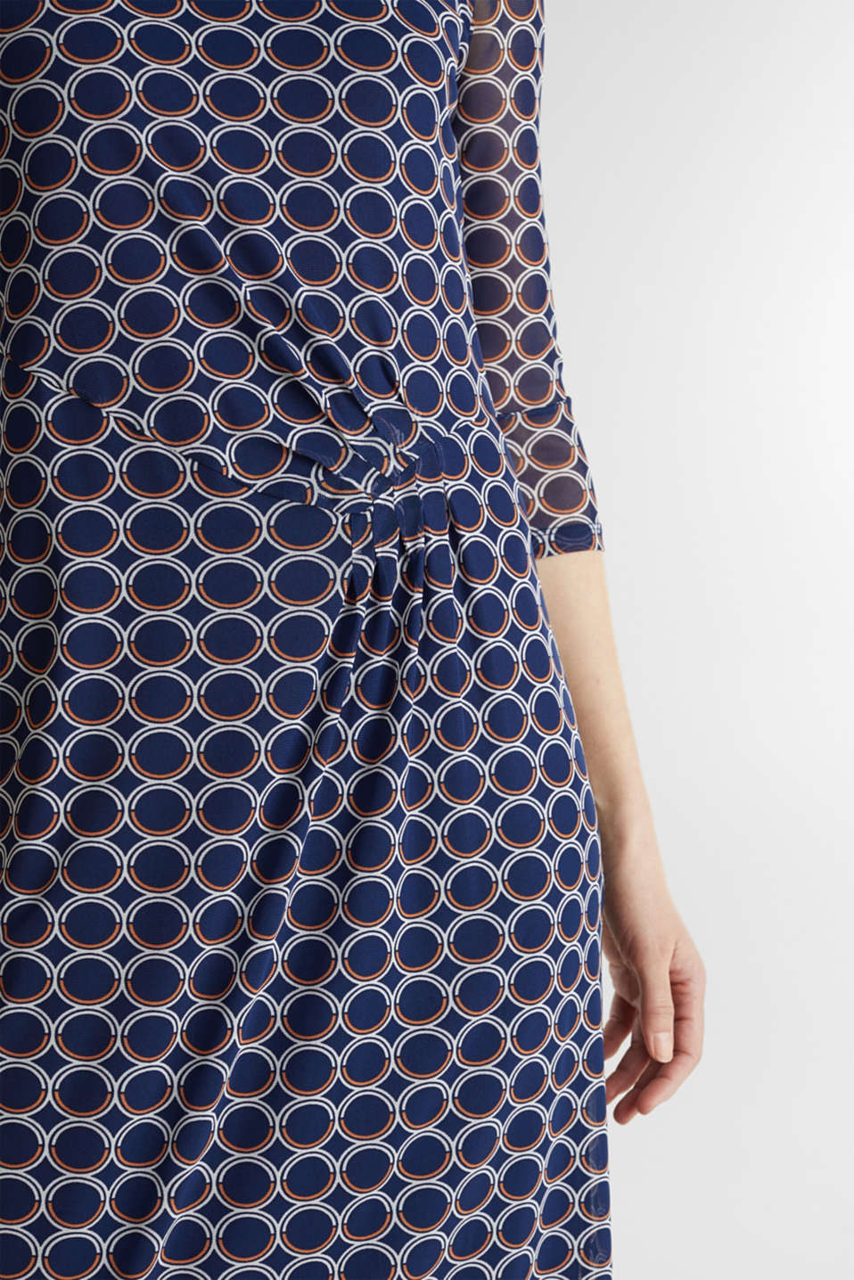 Mesh dress with a print, NAVY 3, detail image number 2
