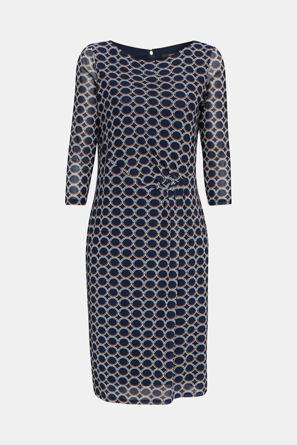 Mesh dress with a print, NAVY 3, detail image number 4