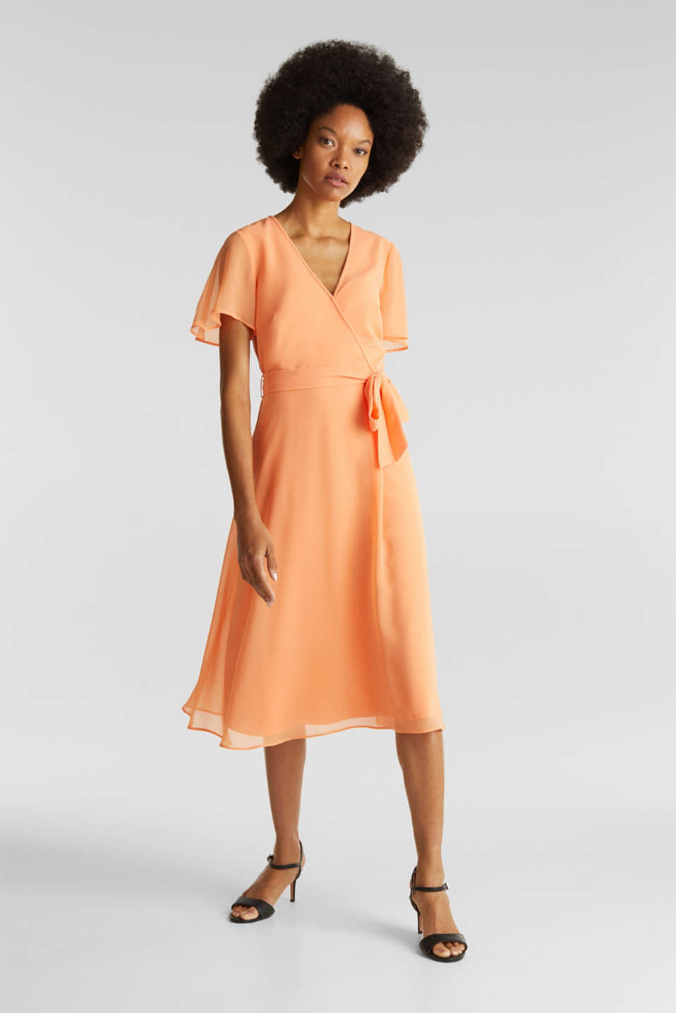 Esprit - Chiffon dress with a wrap-over effect